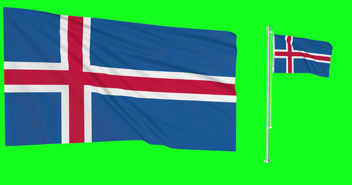Two flags waving Iceland waving icelandic waving flagpole national Iceland national icelandic Animation