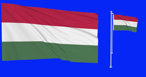 Two flags waving Hungary waving hungarian waving flagpole national Hungary national hungarian Animation