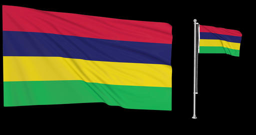 Two flags waving Mauritius waving mauritian waving flag national Mauritius national mauritian Animation