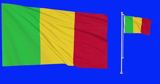 Two flags waving Mali waving malian waving flagpole national malian national Mali national flag Animation