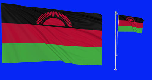 Two flags waving Malawi waving malawian waving flagpole national Malawi national malawian national Animation