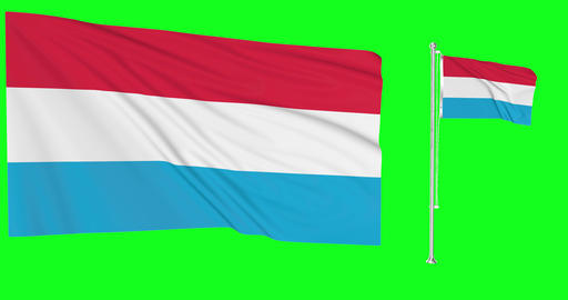 Luxembourg green screen two flags green screen waving green screen Luxembourg chroma key flag chroma Animation