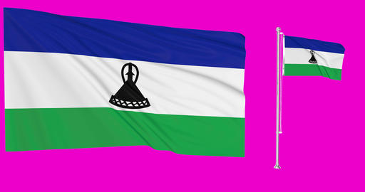 Lesotho waving lesothan waving two flags waving Lesotho green screen lesothan green screen flag Animation