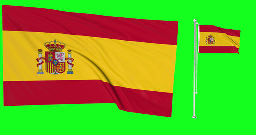 Two flags waving Spain waving flag national spanish national Spain national flagpole green screen Animation
