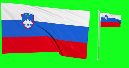 Two flags waving Slovenia waving flag national slovenian national Slovenia national flagpole green Animation