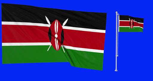 Two flags waving Kenya waving kenyan waving flagpole national Kenya national kenyan national flag Animation