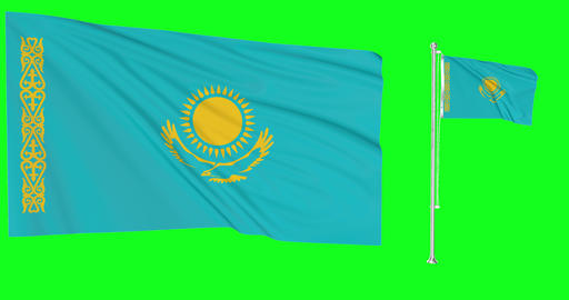 Two flags waving Kazakhstan waving kazakhstani waving flagpole national Kazakhstan national Animation