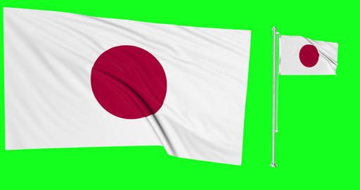 Japan green screen two flags green screen waving green screen Japan japanese flagpole japanese Animation