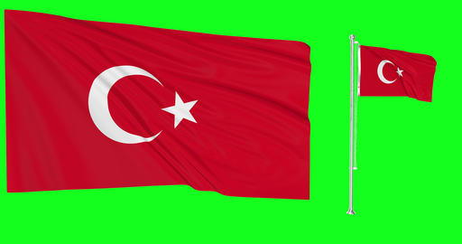Turkey waving turkish waving two flags waving wind green screen turkish flag green screen Turkey Animation