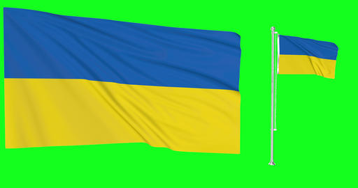 Ukraine waving ukrainian waving two flags waving Ukraine green screen ukrainian green screen flag Animation