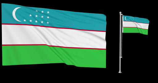 Uzbekistan waving uzbekistani waving two flags waving Uzbekistan green screen uzbekistani green Animation