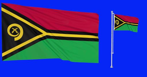 Vanuatu waving vatu waving two flags waving Vanuatu green screen vatu green screen flag green screen Animation