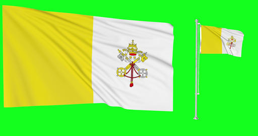 Vatican City waving catholic waving two flags waving Vatican City green screen catholic green screen Animation