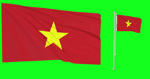 Vietnam waving vietnamese waving two flags waving Vietnam green screen vietnamese green screen flag Animation