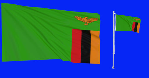 Zambia waving zambian waving two flags waving Zambia green screen zambian green screen flag green Animation