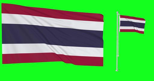 Thailand waving thai waving two flags waving Thailand green screen thai green screen flag green Animation