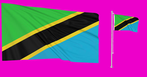 Tanzania waving tanzanian waving two flags waving Tanzania green screen tanzanian green screen flag Animation