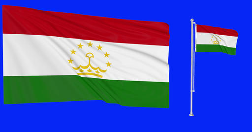 Tajikistan waving tajiki waving two flags waving Tajikistan green screen tajiki green screen flag Animation