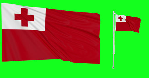 Tonga waving tongan flag waving two flags waving Tonga green screen tongan green screen flag green Animation