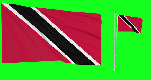 Trinidad and Tobago flags waving trinidadian waving two flags waving tobagonian green screen Animation