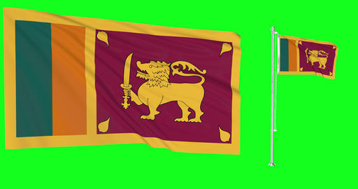 Sri Lanka waving lankan waving two flags waving Sri Lanka green screen lankan green screen flag Animation