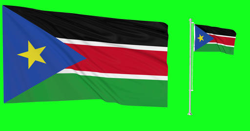 South Sudan waving sudanese waving two flags waving South Sudan green screen sudanese green screen Animation