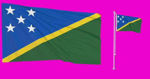 Solomon Islands waving islander waving two flags waving Solomon Islands green screen islander green Animation