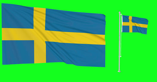 Sweden waving swedish waving two flags waving Sweden green screen swedish green screen flag green Animation