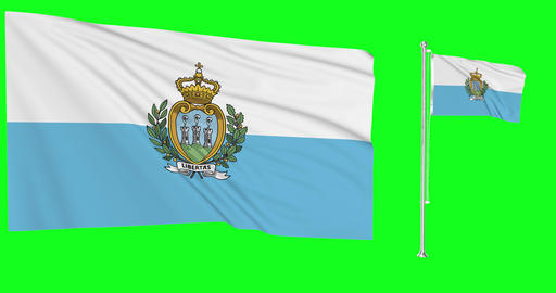 San Marino waving Sammarinese waving two flags waving San Marino green screen Sammarinese green Animation