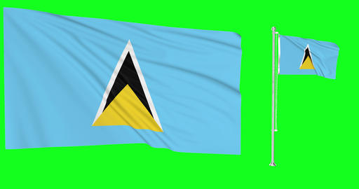 Saint Lucia waving lucian waving two flags waving Saint Lucia green screen pakistani green screen Animation