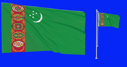 Turkmenistan waving turkmen waving two flags waving Turkmenistan green screen turkmen green screen Animation