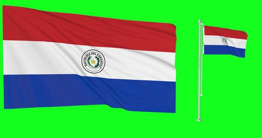 Paraguay waving paraguayan waving two flags waving Paraguay green screen paraguayan green screen Animation