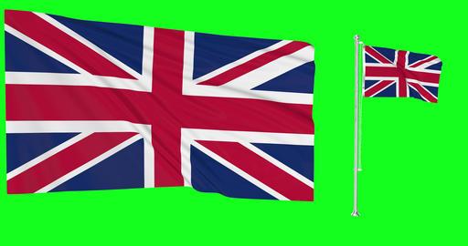 United Kingdom waving british waving two flags waving United Kingdom green screen british green Animation