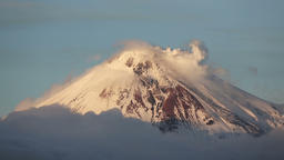 Kamchatka: top of cone of active Avacha Volcano, fumarolic activity of volcano Footage