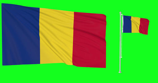 Romania waving romanian waving two flags waving Romania green screen romanian green screen flag Animation