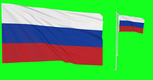 Russia waving russian waving two flags waving Russia green screen russian green screen flag green Animation