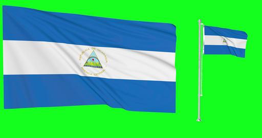 Nicaragua waving nicaraguan waving two flags waving Nicaragua green screen nicaraguan green screen Animation