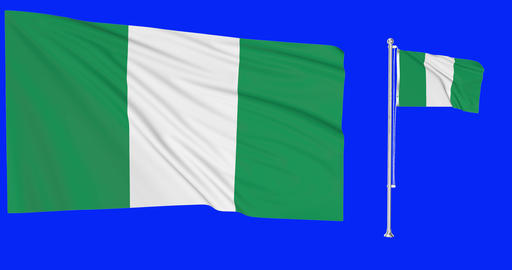 Nigeria waving nigerian waving two flags waving Nigeria green screen nigerian green screen flag Animation