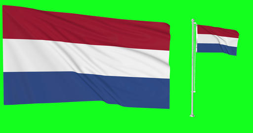Two flags waving Netherlands waving waving flagpole national Netherlands national dutch national Animation