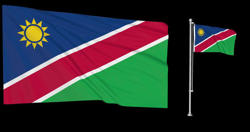Namibia waving namibian waving two flags waving Namibia green screen namibian green screen flag Animation