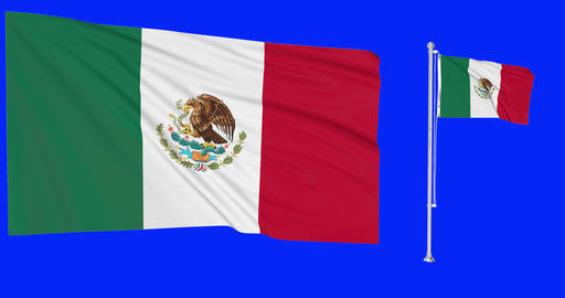 Two flags waving Mexico waving mexican waving flagpole national Mexico national mexican national Animation