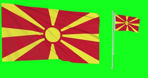Macedonia waving macedonian waving two flags waving Macedonia green screen macedonian green screen Animation