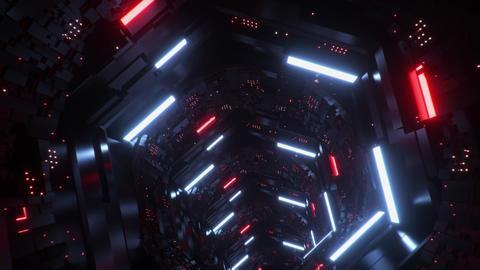 3D Sci-Fi Hexagons & Circles Tunnel VJ Loop Motion Background CG動画