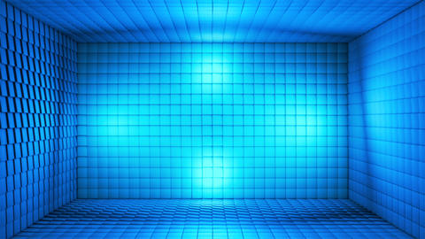 Broadcast Pulsating Hi-Tech Cubes Room Stage, Blue, Events, 3D, Loopable, HD CG動画