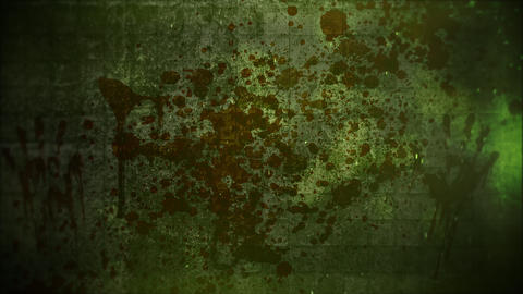 Mystical horror background with dark blood on green wall and panorama motion camera Animation