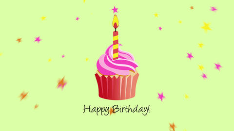 Animated closeup Happy Birthday text with muffin on holiday background Animation