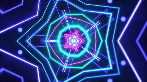 Motion abstract neon geometric shape in space, laser club background Animation