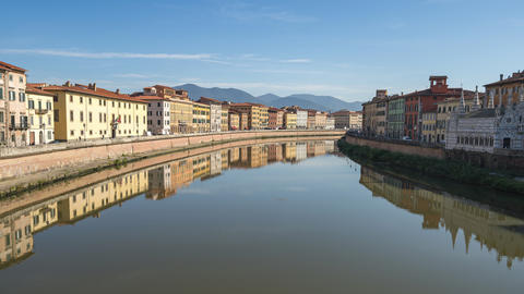 Arno River in Pisa, Italy Live Action