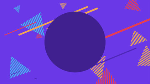 Motion abstract geometric shapes striped triangles, purple Memphis background Animation