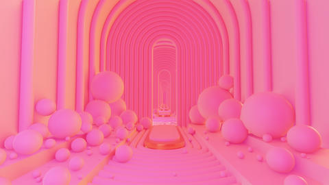 Abstract Scene Pastel Color With Geometry Tunnel 01 Animation